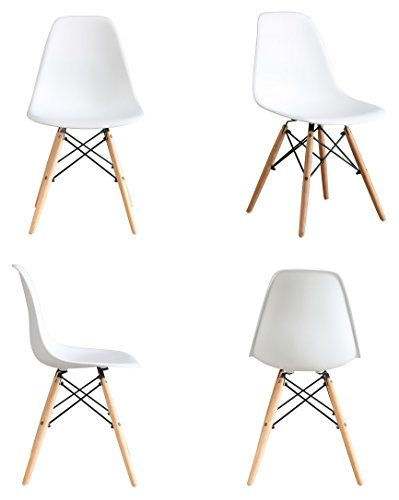 BTEXPERT Eiffel Style Natural Wood Dowell Legs Side Dining Chair DSW, Set of 4, White