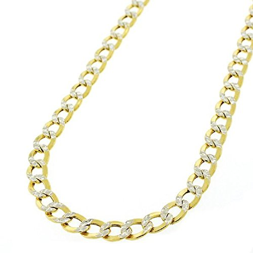 14K Solid Gold 3.8mm Cuban Curb Link Chain Necklace - Multiple Lengths And Colors Available (Two Tone, 24)