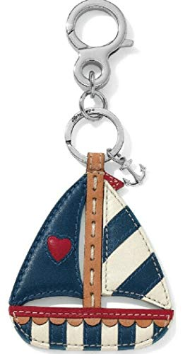 BRIGHTON LETS HANG OUT SAIL AWAY SAILBOAT WITH ANCHOR CHARM HANDBAG FOB NAUTICAL Keychain
