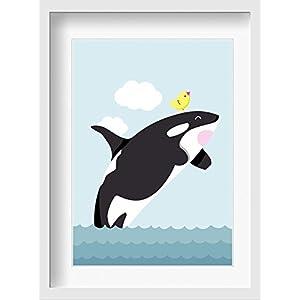 """Bilder Kinderzimmer Poster""""Orca Sam"""" – hochwertiger Druck auf Qualitäts-Papier, pastellfarben (ungerahmt) …"""