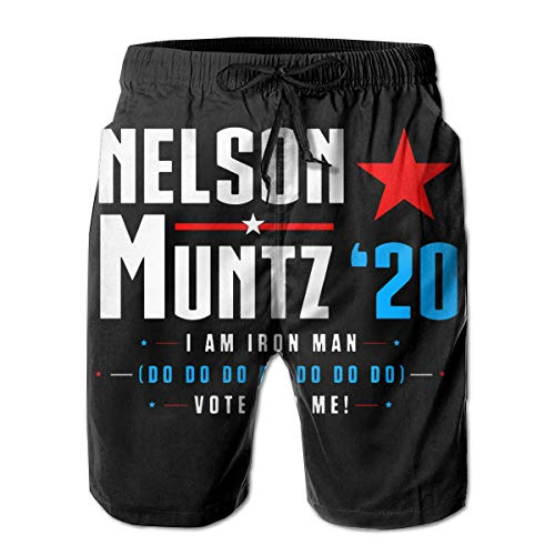 Vote Nelson Muntz 2020 Simpsons Election Männer Casual Shorts Badehose Strand Boardshorts L
