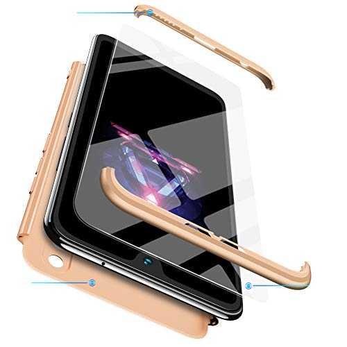 FMPC Hülle Kompatibel mit Huawei Nova 2 Plus, 3 in 1 PC Schale Full-Cover Anti-Kratzer 360° Ultra dünn R&umschutz-Schale mit Gratis 3D Panzerglas Handyhülle Schutzhülle Case-Gold