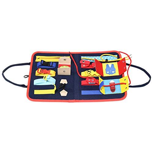 Vtops Tabla de actividades portátil Montessori para niños pequeños, con bolsa de almacenamiento, para viajes y coche