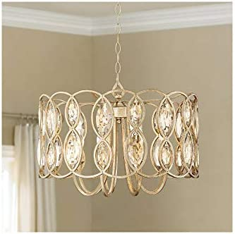 Bellmont Silver Leaf Drum Pendant Chandelier Lighting 22 1 2 Wide Clear Crystal Accents 8 Light product image