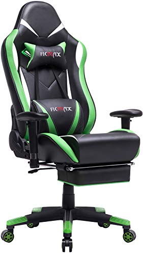 Ficmax Green Massage Gaming Chair High Back, Big and Tall Computer Gaming Chair with Footrest, Ergonomic Gamer Chair for E-Sport, Reclining Video Game Chair with Headrest and Lumbar Support