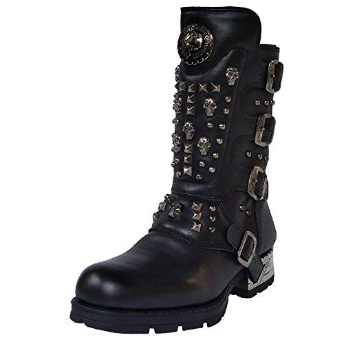 New Rock Engineer Boots mit Nieten und Skulls, Farbe:Black;Größe:44