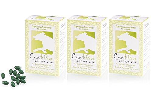 CaniMove XL-Sparset (3 x 100 Kapseln) senior mini - tierärztliches Ergänzungsfutter für eine gezielte Unterstützung von Augen und Gehirn. Mit DHA, Ginkgo-Extrakt, FloraGlo und B12