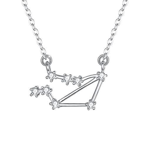 Clearine Halskette Sternzeichen 925 Sterling Silber CZ- Waage Sternbild 12 Horoskop Astrologie Anhänger Kette klar für Damen Mädschen