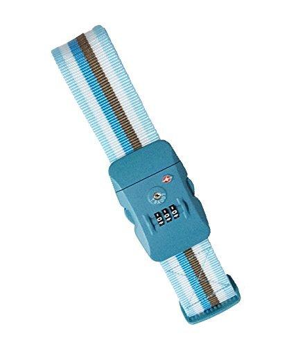 TSAロックスーツケースベルト ブルー×ストライプ