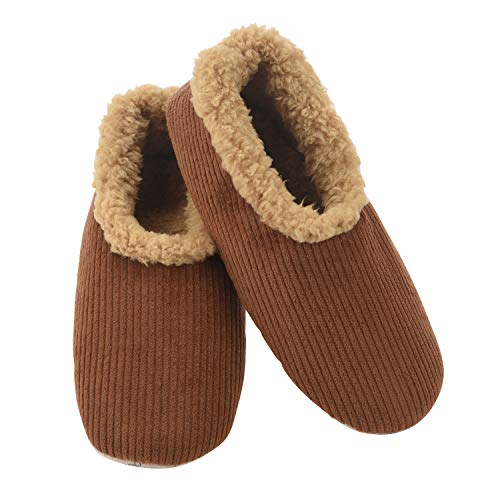 Snoozies Mens Corduroy Slippers Slippers for Men | Mens House Slippers | Fuzzy Slippers with Soft Soles | Brown | Medium