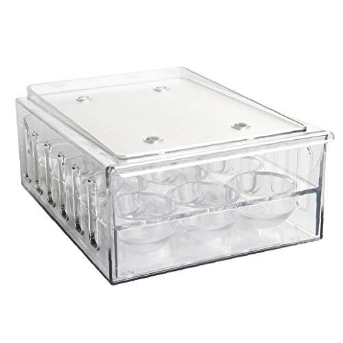 Nicedier Soporte para Huevos Almacenamiento Frigorífico Bandeja de Huevos cajón contenedor Caja Organizador de plástico Transparente con Tapa 12 Hoyos Suministros de Cocina Artículos para el hogar