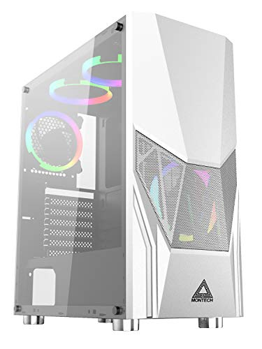 Montech Fighter 500 ATX Mid-Tower Computer Gaming Case/Pre-Installed Four Rainbow LED Fans, High-Airflow, Mesh 3D Front Panel, Tempered Glass, Magnetic Dust Filter/ATX,Micro ATX,Mini-ITX, White