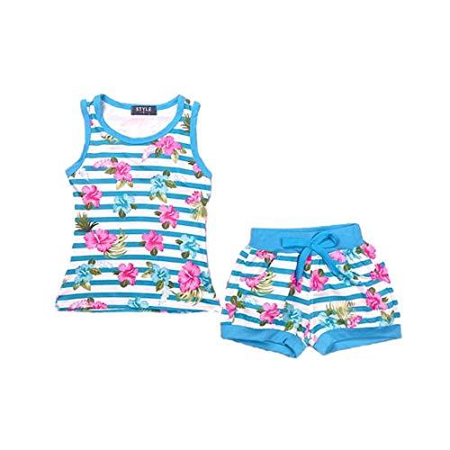 Chaleco y pantalones cortos para niñas conjunto floral top rayas 2 piezas verano camiseta sin mangas 2-12 años, turquesa, 5-6 Años