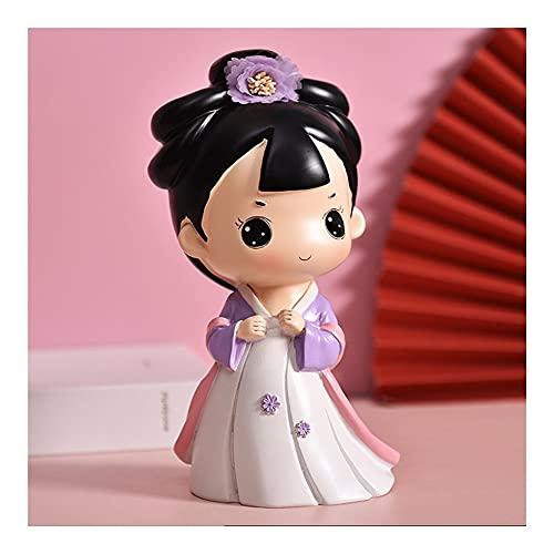 LNBT Hucha De Resina con Forma De Vestido Hanfu Tradicional Chino Antiguo para Niñas, Hucha Retro para Regalo De Fiesta De Navidad Cajas (Color : Piggy Bank B)