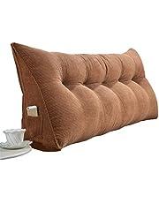 RLQ Cabecera doble Cojín triangular Respaldo del sofá cama Cojín triangular grande para sofá cama Desmontable Tatami leer Respaldo Cojín de cabecera doble ( Color : Brown , tamaño : 135*50*20cm )