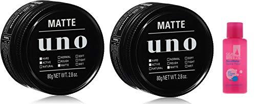 【Amazon.co.jp限定】 UNO(ウーノ) マットエフェクター ワックス+おまけ(シーブリーズ デオ&ウォーターミニボトル(マリンフローラル)) ヘアワックス セット 80g×2個+おまけ