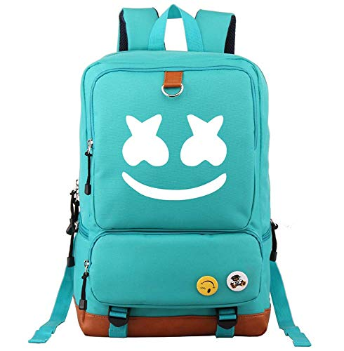 Marshmello face Alone DJ Backpack Book Bag Marshmello Children School Bags Men Women Hip Hop Backpack for Girls and Boys (Green)