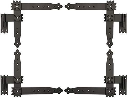 KOTARBAU® Winkelband 250 x 230 mm mit Kloben 4 x Scharnier Fensterladenband Winkelscharnier Türband Torband Schwarz Pulverbeschichtet Fensterband