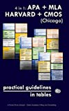 """4 in 1: APA + MLA + HARVARD + CMOS (Chicago) Practical Guidelines in Tables: A Pocket Style Manual €"""" Quick Academic Citing and Formatting (FORMATTING IN TABLES)"""