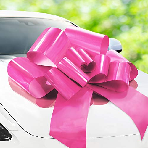Zoe Deco Big Car Bow (Pink, 30 inch) with 2 Gold Accessory Bows, Giant Presents, Girl Party, Lady Surprise Party, Wedding Reception, Birthday, Christmas Bows for Car, Gift Bow, Car Bow Giant