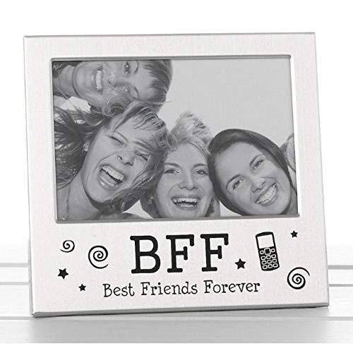 """Cornice per Foto in Argento Satinato con Scritta in Inglese """"BFF Best Friends Forever"""", con Finitura in Argento Satinato"""