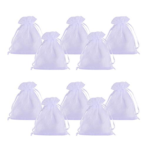 PandaHall Elite 100PCS Sacchetti Organza Sacchetti Regalo Sacchetti Portaconfetti Bianco per Confetti Matrimonio Bomboniere 8cm di Larghezza, 10cm di Lunghezza