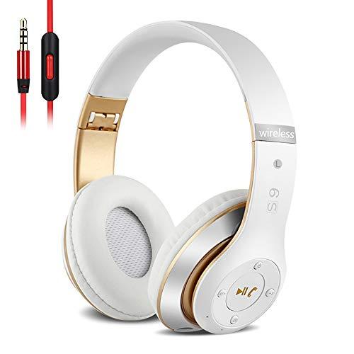 6S Over-ear Wireless Cuffie, Cuffie Wireless Bluetooth Cuffie Wireless Stereo Pieghevoli ad Alta Fedeltà, Microfono Incorporato, Micro SD/TF, FM (per iPhone/Samsung/iPad/PC) (Oro bianco)