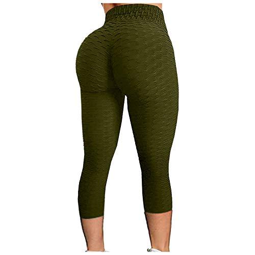 Xiantime Mujers Leggins Pantalones Cortos de Yoga,Shorts Bermudas Deporte Mujer Jacquard Burbuja,Pantalones Recortados de Ciclismo Deportivos de Cintura Alta Ajustados,Pants Levantamiento de Cadera