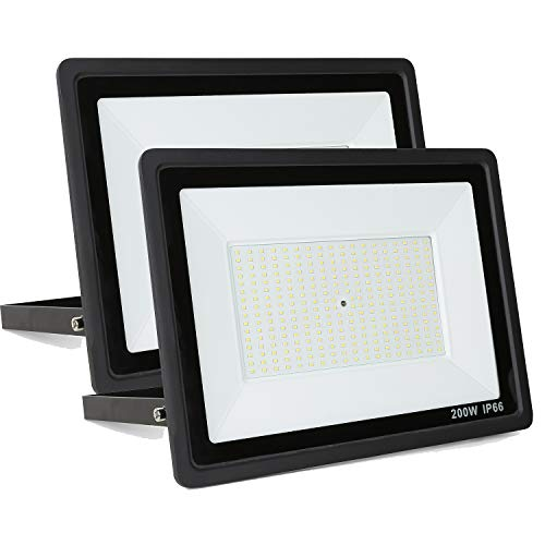 Fopretty 2 Pack 200W LED Flood Lights 24,000lm Super Bright Outdoor Waterproof Lights 6000K Day White Perfect for Garden Garage Sport Courts