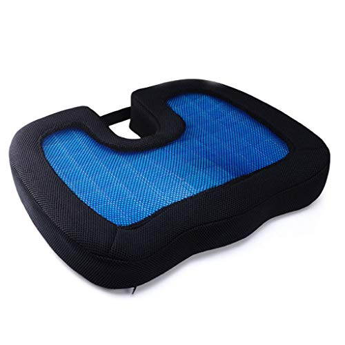ZYM Gel Chair Seat Cushion, Breathable Support Cooling Pad with Non-Slip Cover Relieve Hip Fatigue for Office Home Car Wheelchair