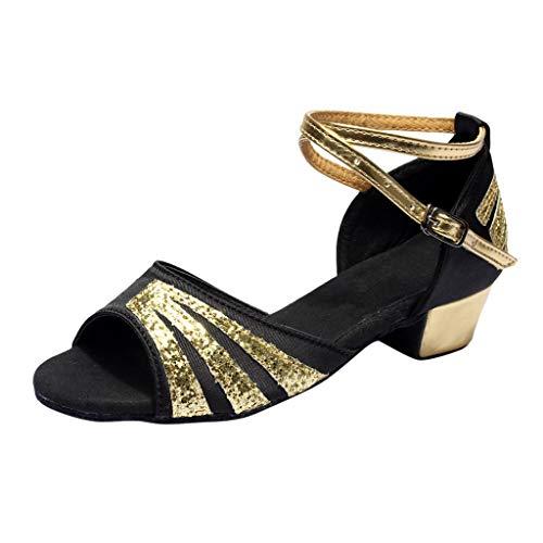 Damen Standard & Latein Satin Tanzschuhe Elegante Sandalen Salsa Tango Dance Schuhe Blockabsatz Weiche Sohle Party Hochzeit Celucke