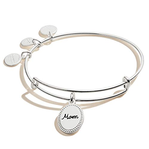 Alex and Ani Because I Love You Mom Expandable Wire Bangle Bracelet for Women, Bonded by Love Charm, Shiny Antique Silver Finish, 2 to 3.5 inches