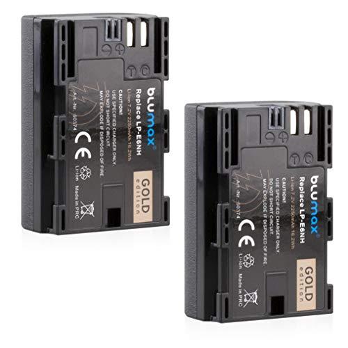 2x Blumax Gold Battery - Batería compatible con Canon LP-E6NH (2250 mAh) XC10, XC15, EOS-R, RA R6, R5, EOS 60D, 70D, 80D, 90D, 5D, Mark I, Mark II, Mark III, IV 6D, Mark I II, 7D Mark I II