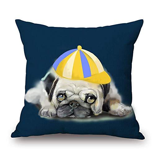 Kysd43Mill Funda de almohada decorativa de algodón y lino, de 45,7 x 45,7 cm para sofá, cama, coche, diseño de perro pequeño en un sombrero, tumbado en el suelo, color azul y verde azulado