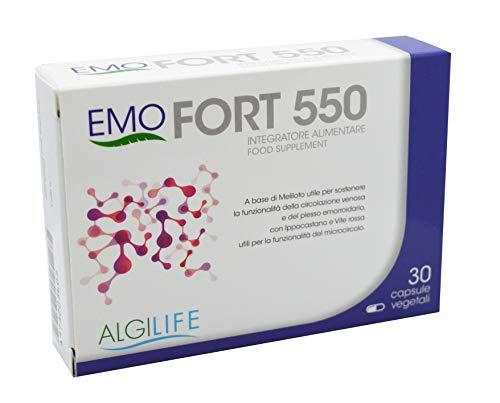 EMOFORT 550 Integratore Alimentare - 30 Capsule vegetali, per la funzionalità della circolazione venosa, per le emorroidi e per la fragilità capillare. Utile per la funzionalità del microcircolo