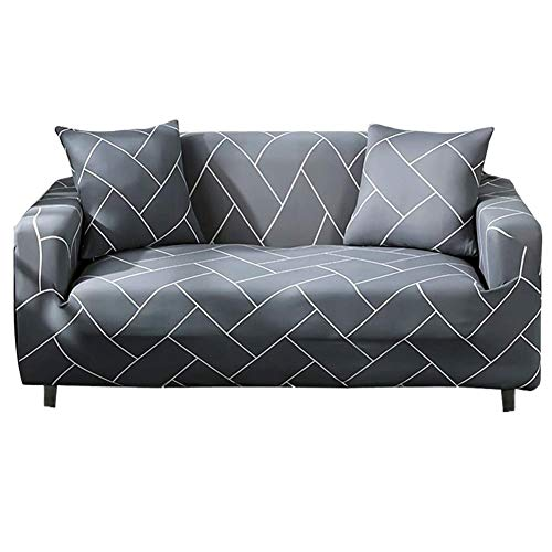 HOTNIU Stretch Sofa Cover Printed Couch Covers Loveseat Slipcovers for 2 Cushion Couches Sofas Elastic Universal Furniture Protector with One Free Pillowcase (Medium, Light Grey Stripes)