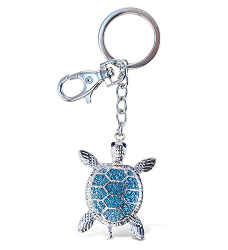 Aqua79 Blue Sea Turtle Keychain - Silver 3D Sparkling Charm Rhinestones Fashionable Stylish Metal Alloy Durable Key Ring Bling Crystal Jewelry Accessory, Clasp For Key Chain, Purse, Backpack, Handbag