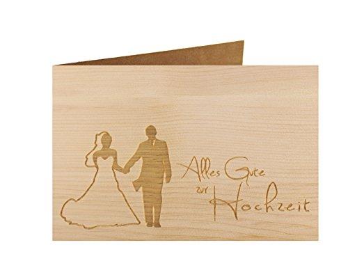 Holzgrußkarte - ALLES GUTE ZUR HOCHZEIT - 100% handmade in Österreich - Postkarte, Glückwunschkarte, Geschenkkarte, Grußkarte, Klappkarte, Karte, Einladung, Holzart:Zirbe