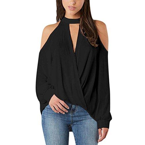 VEMOW Sommer Elegante Damen Mädchen Frauen V-Ausschnitt Schulterfrei Langarm Casual Täglichen Party Business Strand T-Shirt Tops Bluse Pulli Tees(Schwarz, 42 DE/S CN)