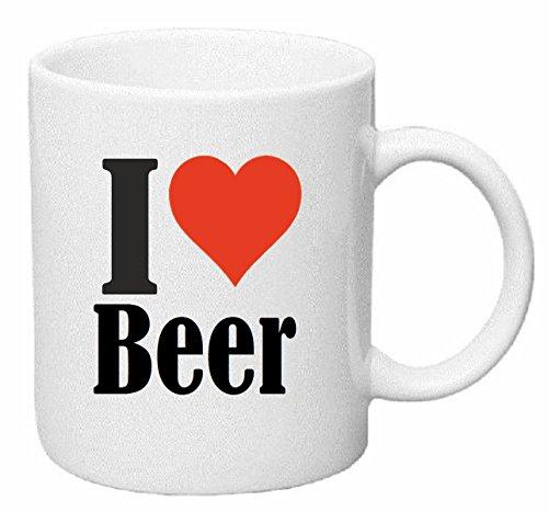 taza para café I Love Beer Cerámica Altura 9.5 cm diámetro de 8 cm de Blanco