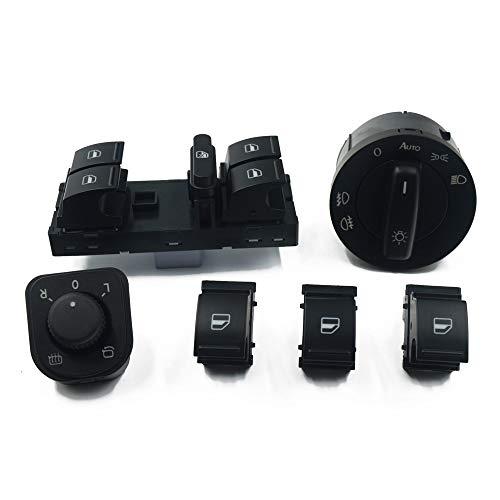 NAWQK Botón de Interruptor de Espejo de Windowlight de 4set 5KD 941 431B 1K0 959 565J 1K3 959 857A 1K3 959 857A 1F0 959 855 Ajuste para EOS Golf 5 6 GTI Fit for Passat CC