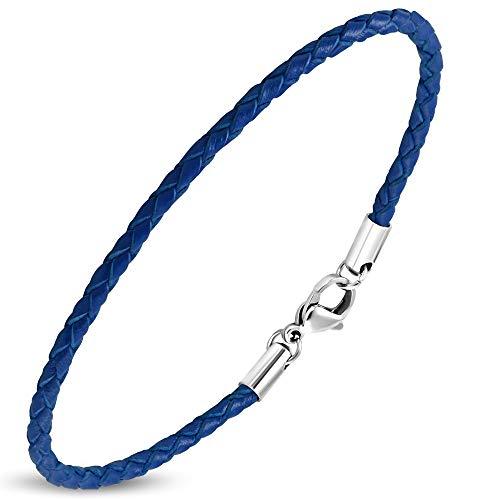 Zense. Pulsera de hombre de cuero fina, color azul marino. ZB0243