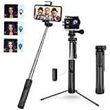 Selfie Stick Tripod, 3 Level Fill Light Selfie Stick, All in 1 Extendable Phone Tripod with Wireless Remote and Lightweight, Compatible with iPhone 12 12 Pro 11 11 Pro XS Max XR Galaxy Camera