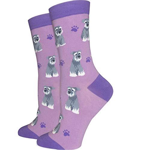 Women's Premium Comfort Animal Socks (Schnauzer Socks Purple)