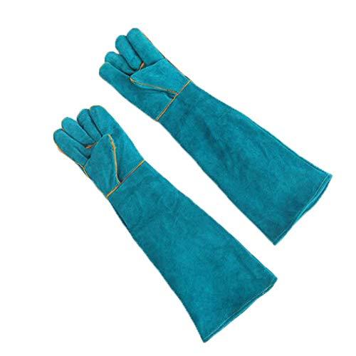 Pet Dierhandschoenen-Verdikking Koeienhuid Anti-Bite/Scratch Handschoenen Bescherming Handschoenen Veilig en Duurzaam 60 Cm/zhu (Color : Blue, Size : L)