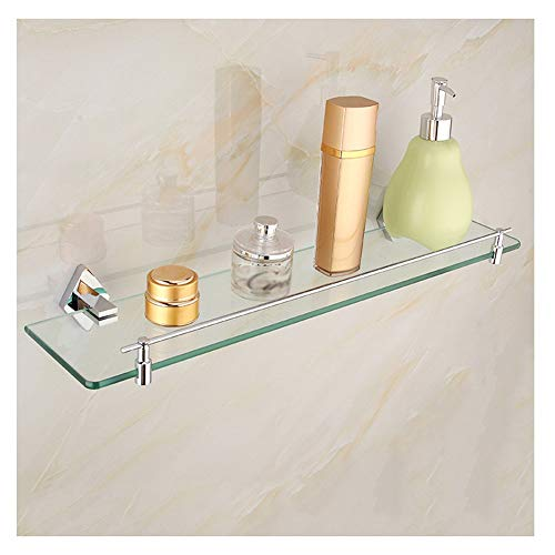 ZHANWEI badrumsförvaring duschkorg badrumshylla tjockt härdat glas alla brons badrum lagerhylla på väggen monterad sminkhylla, 4 storlekar (storlek: 40 x 12 cm)