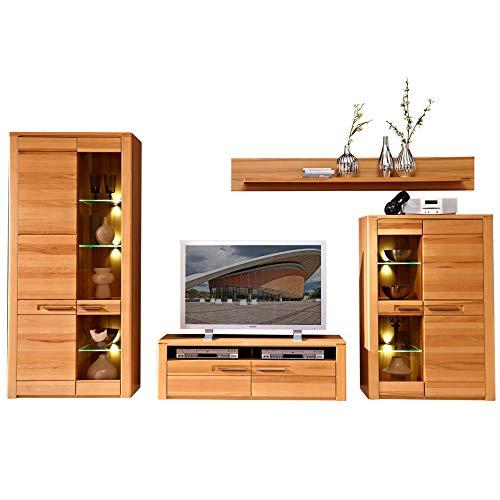 Nature Plus Wohnwand Komplett-Set teil-massiv aus Kernbuchenholz - Moderne Schrankwand für Ihr Wohnzimmer - 320 x 185 x 45 cm (B/H/T)