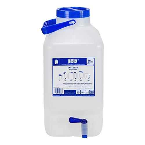 Plastex 10L Wasserkanister lebensmittelecht mit Zapfhahn und Griff, Weithals Kanister zum Camping, Wohnwagen