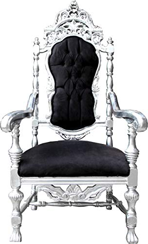 Casa Padrino Barock Thron Sessel Schwarz/Silber Königssessel - Hochzeitssessel - Riesensessel