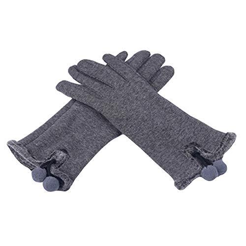 COZOCO Moda Para Mujer Mullido Invierno Cálido Dedo Completo Bola Gota Pelota Guantes Esquí Protección Contra El Viento Mano (una talla, gris)